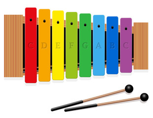Glockenspiel or metallophone in c major with eight labeled bars, one octave, in different colors and two percussion mallets - top view - isolated vector illustration on white background.
