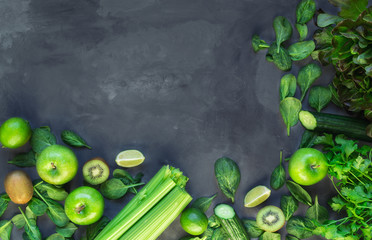Wall Mural - Fresh organic green vegetables and fruits for green smoothie