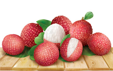 Lychee on wooden surface