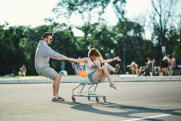 Happy love couple having fun 