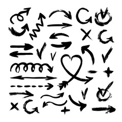 Hand Drawn Arrows with Paint Brush. A collection of black grungy vector abstract hand-painted brush and stroke arrows