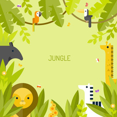 Beautiful tropical background. Jungle. Vector flat illustration.
