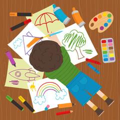 boy draws on the floor - vector illustration, eps