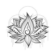 Abstract Tattoo Logo Design of Lotus Flower