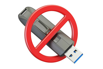 Forbidden sign with USB flash drive, 3D rendering
