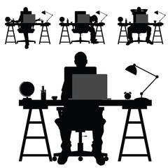 man silhouette work on laptop illustration