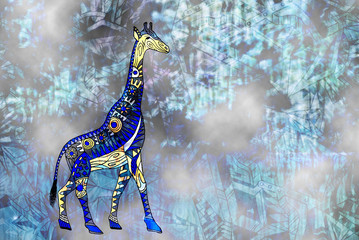 Giraffe's drawing in abstract style. Pattern