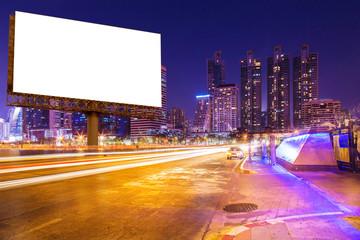 blank billboard on light trails, street