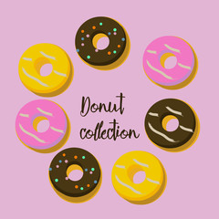 Bakery set of donuts arranged in a circle. Vector illustration.