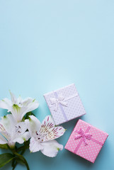 Two gift boxes with alstroemeria flowers on light blue background
