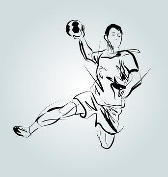 Vector line sketch of a handball player