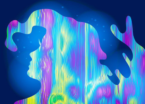 Abstract girl, psychedelic style background. Lucid dream, conscious dream, creative concept. Vector illustration