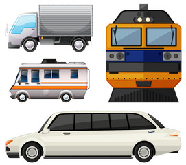 Different vehicles on white background