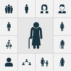 Human Icons Set. Collection Of Group, Businesswoman, Work Man And Other Elements. Also Includes Symbols Such As Grandpa, Team, Mister.