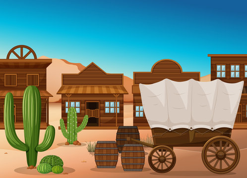 Wooden wagon and building in desert