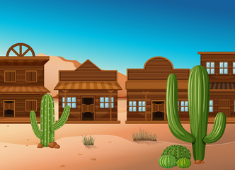 Desert scene with shops and cactus
