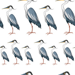Seamless background with crane birds