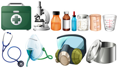 Different medical equipments on white background