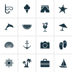 Hot Icons Set. Collection Of Ship, Conch, Baggage And Other Elements. Also Includes Symbols Such As Vitamin, Tongs, Armature.