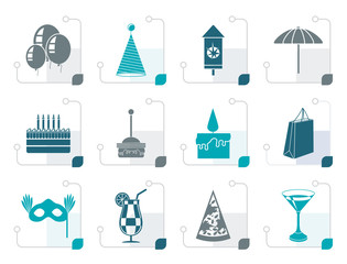 Stylized Party and holidays icons - vector icon set