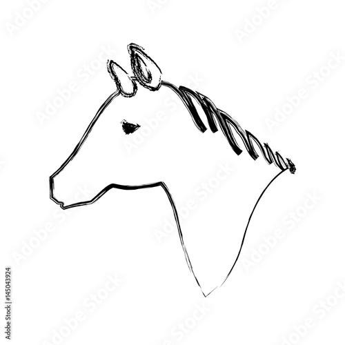 Horse Head Silhouette Icon Vector Illustration Graphic Design Stock