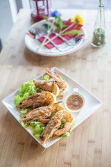 grilled king prawn with seafood sauce.