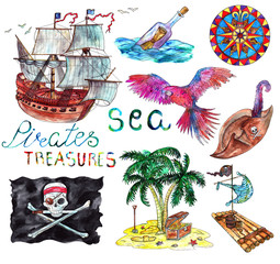Marine collection with hand drawn pirate elements. Watercolor illustration.