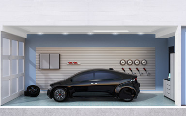 Side view of black car parking into a stylish garage. 3D rendering image.