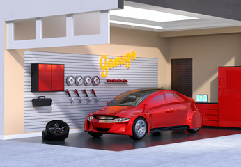 Red car in stylish garage. 3D rendering image.