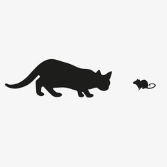 The cat catches the mouse