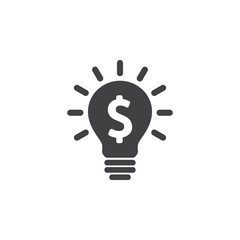 Light bulb with dollar symbol business concept. Vector icon.