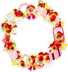 The frame that is made with various miscellaneous goods of carnation