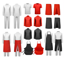 Big set of culinary clothing, white and red suits and aprons. Vector. - fototapety na wymiar