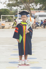 Portrait asian little boy.Congratulations Kindergarten graduation.
