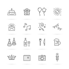 birthday party vector line icons