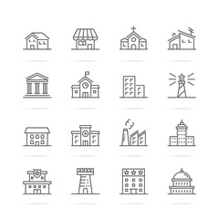 building and real estate vector line icons