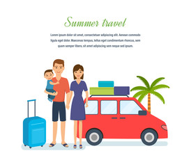 Family of three, went on travel in summer in car.