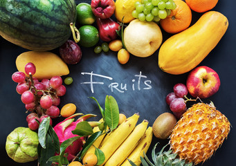 Tropical Fruits Raw Eating Concept Food Dark