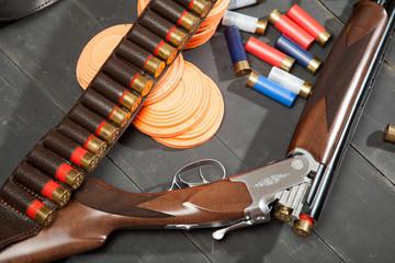 Shotgun with cartridges