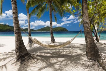 Beautiful beach with hammock in Palawan, Philippines