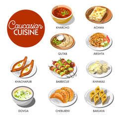 Caucasian cuisine menu layout