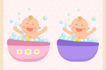 Happy baby girl and baby boy bath. Flat design.