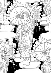 Graphic geisha with umbrella