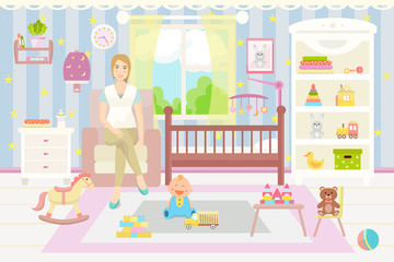 Baby room interior. Flat design. Baby room with  shelf,  toys, cot, armchair, chair and rug.