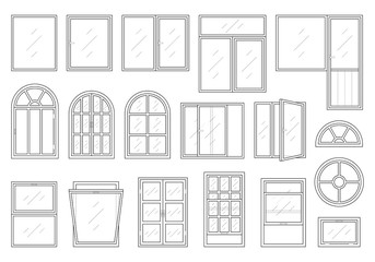 Icons set of windows different types. Pictogram collection in thin linear style. Classic architecture elements. Simple design. Vector illustration in black color isolated on white background