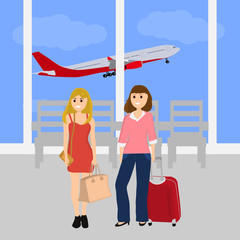 Women tourists at the international airport