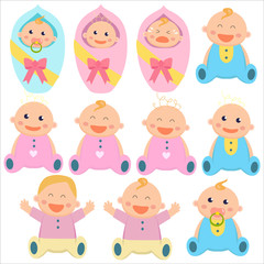 Baby flat icon. Baby boys and baby girls. New borns. Vector illustration.