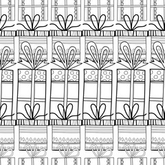 Black and white seamless patterns with gift boxes for coloring.