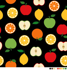 Mix fruits pattern on black background