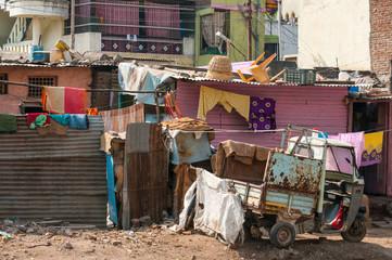 Indian slums, poor quarters of big city